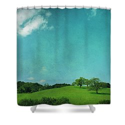 Green Grass Blue Sky Shower Curtain by Laurie Search