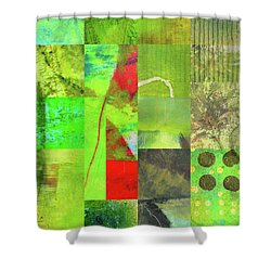 Shower Curtain featuring the digital art Green Grid by Nancy Merkle