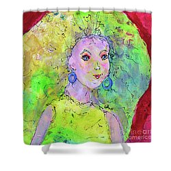 Shower Curtain featuring the painting Green Hair Don't Care by Claire Bull