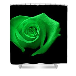 Green Heart-shaped Rose Shower Curtain by Glennis Siverson
