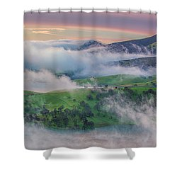 Green Hills And Fog At Sunrise Shower Curtain