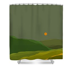 Green Hills In The Valley Shower Curtain by Val Arie