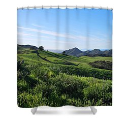 Shower Curtain featuring the photograph Green Hills Landscape With Cactus by Matt Harang