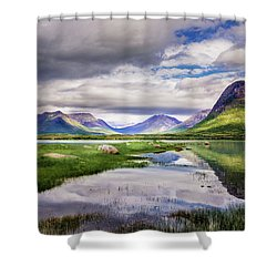 Shower Curtain featuring the photograph Green Hills Of Vesteralen by Dmytro Korol
