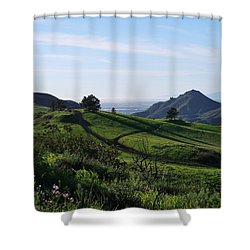Shower Curtain featuring the photograph Green Hills Purple Flowers Foreground  by Matt Harang