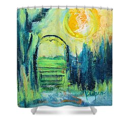 Green Horse Pasture Shower Curtain by Betty Pieper