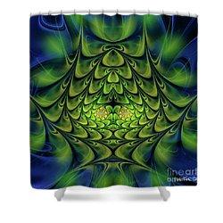 Shower Curtain featuring the digital art Green Island by Jutta Maria Pusl