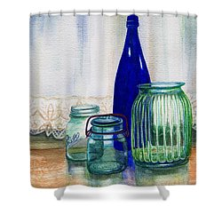 Green Jars Still Life Shower Curtain