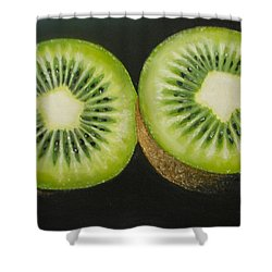 Green Kiwi Oil Painting  Shower Curtain by Natalja Picugina