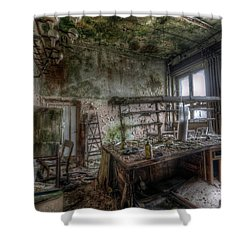 Shower Curtain featuring the digital art Green Lab by Nathan Wright