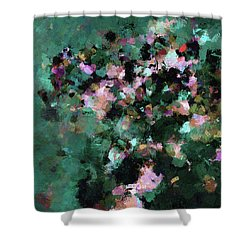 Shower Curtain featuring the painting Green Landscape Painting In Minimalist And Abstract Style by Ayse Deniz