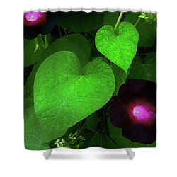 Green Leaf Violet Glow Shower Curtain