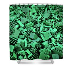 Green Lego Abstract Shower Curtain
