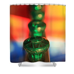 Shower Curtain featuring the photograph Green Lights by Lora Lee Chapman