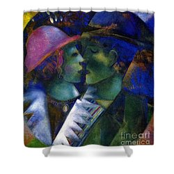 Green Lovers Shower Curtain by Marc Chagall