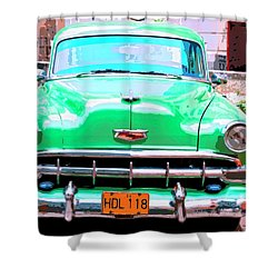Green Machine Shower Curtain by Dominic Piperata