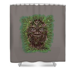 Green Man Of The Forest Shower Curtain