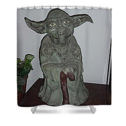 Green Man Shower Curtain by Val Oconnor
