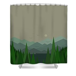 Shower Curtain featuring the digital art Green Mist - Verical by Val Arie