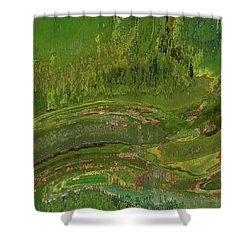 Green Moss Abstract Shower Curtain