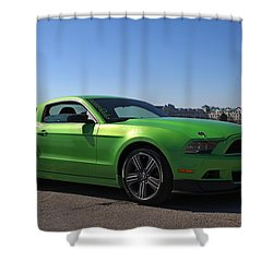 Green Mustang Shower Curtain by Davandra Cribbie