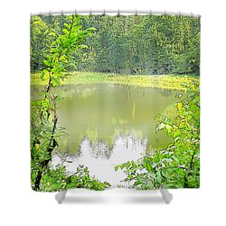 Green On Lake Shower Curtain