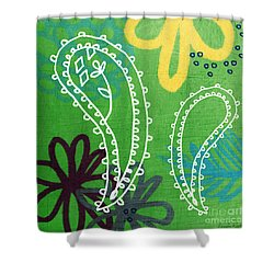 Green Paisley Garden Shower Curtain by Linda Woods