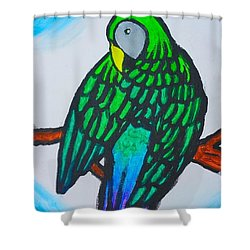 Shower Curtain featuring the painting Green Parrot by Artists With Autism Inc