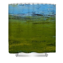 Shower Curtain featuring the painting Green Pastures 1 by Jani Freimann
