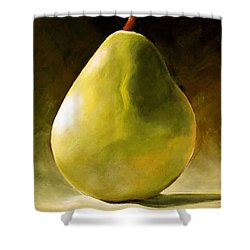 Green Pear Shower Curtain by Toni Grote