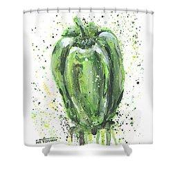 Green Pepper Shower Curtain by Arleana Holtzmann