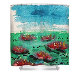 Green Pond With Many Flowers Shower Curtain