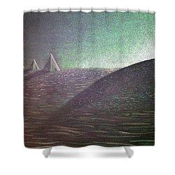 Shower Curtain featuring the drawing Green Pyramid B by Mayhem Mediums
