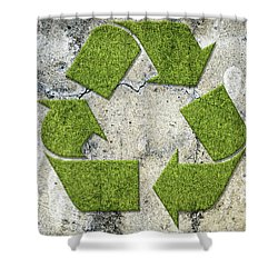 Green Recycling Sign On A Concrete Wall Shower Curtain by GoodMood Art