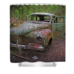Green Relic Shower Curtain by Cathy Mahnke
