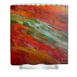 Shower Curtain featuring the painting Green River by Dragica  Micki Fortuna