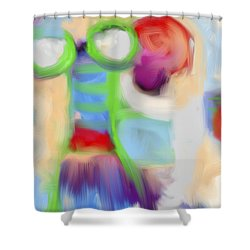 Green Robot Eyes Shower Curtain by Susan Stone