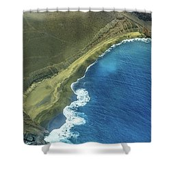 Green Sand Beach Aerial Shower Curtain