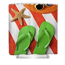 Green Sandals On Beach Towel Shower Curtain by Garry Gay