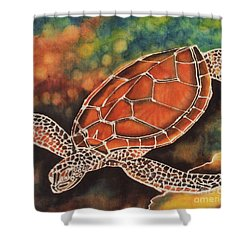 Green Sea Turtle Shower Curtain by Jacqueline Phillips-Weatherly