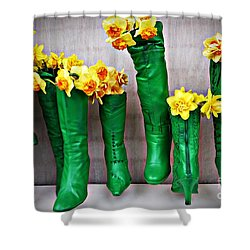 Green Shoes For Yellow Spring Flowers Shower Curtain