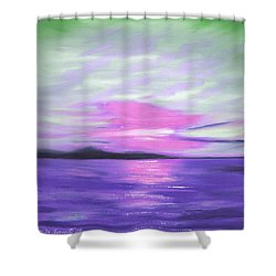 Green Skies And Purple Seas Sunset Shower Curtain