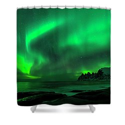 Green Skies At Night Shower Curtain