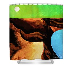 Shower Curtain featuring the painting Green Skies by Igor Postash