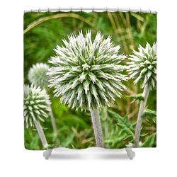 Green Spiky Things Shower Curtain