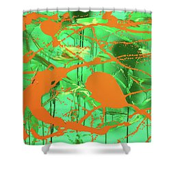 Green Spill Shower Curtain by Thomas Blood