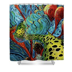 Green Spotted Puffer Shower Curtain