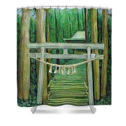Green Stairway Shower Curtain