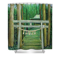 Green Stairway Shower Curtain