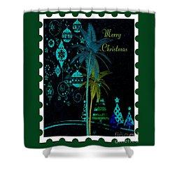 Shower Curtain featuring the digital art Green Stamp by Megan Dirsa-DuBois